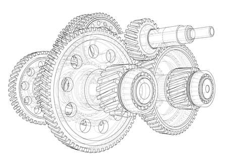 Outline gearbox concept. Vector rendering of 3d. Wire-frame style. The layers of visible and invisible lines are separated