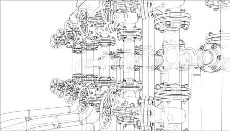 Skizze von Industrieanlagen. Vektor-Rendering von 3d. Drahtrahmen-Stil. Die Schichten der sichtbaren und unsichtbaren Linien sind getrennt