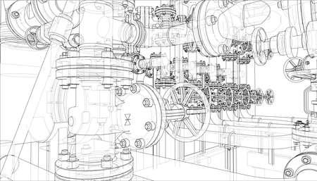Croquis d'équipement industriel. Rendu vectoriel de 3d. Style fil de fer. Les couches de lignes visibles et invisibles sont séparées