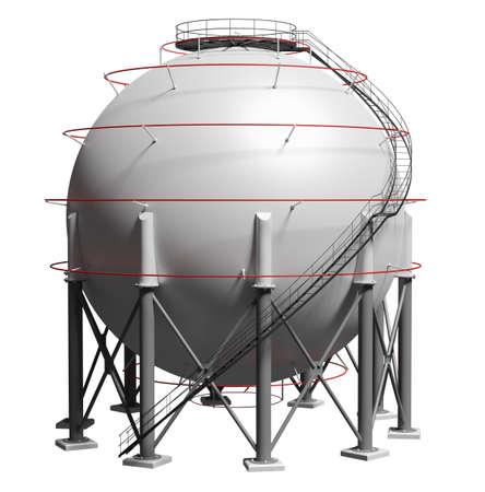 Spherical gas tank. 3D illustration