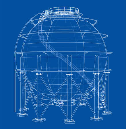 Spherical gas tank outline. Vector rendering of 3d. Wire-frame style. The layers of visible and invisible lines are separated 矢量图像