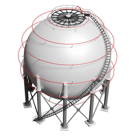 Spherical gas tank. 3D illustration Standard-Bild - 119840589