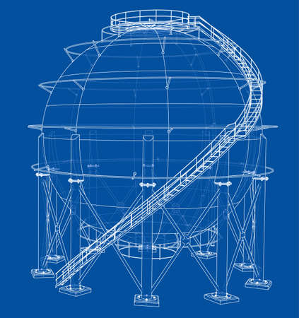 Spherical gas tank outline. Vector rendering of 3d. Wire-frame style. The layers of visible and invisible lines are separated  イラスト・ベクター素材