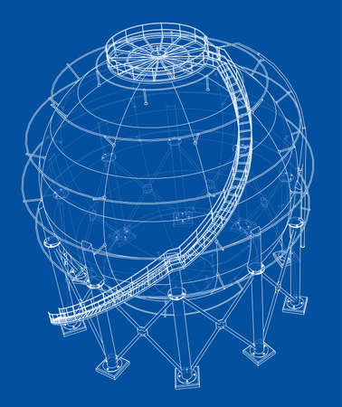 Spherical gas tank outline. Vector rendering of 3d. Wire-frame style. The layers of visible and invisible lines are separated Ilustração