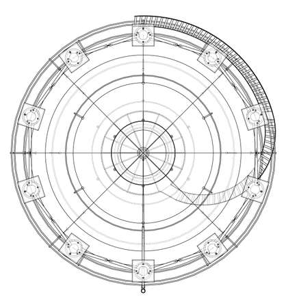 Spherical gas tank outline. Vector rendering of 3d. Wire-frame style. The layers of visible and invisible lines are separated Illustration