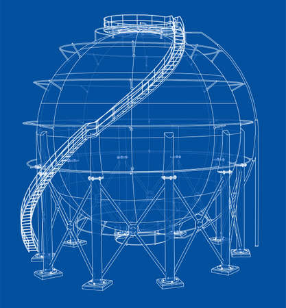 Spherical gas tank outline. Vector Standard-Bild - 119840593