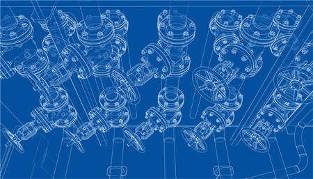 Sketch of industrial equipment. Vector Standard-Bild - 119840594