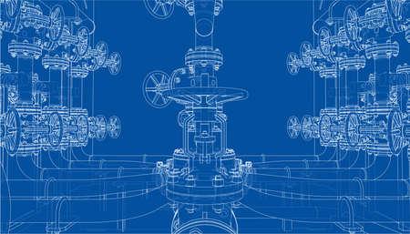 Sketch of industrial equipment. Vector Standard-Bild - 119840595