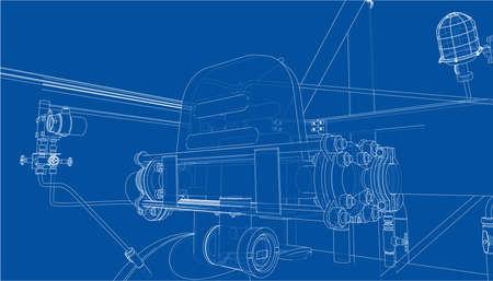 Sketch of industrial equipment. Vector Standard-Bild - 119840629