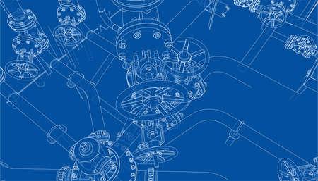 Sketch of industrial equipment. Vector Standard-Bild - 119840630