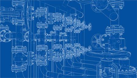 Sketch of industrial equipment. Vector Standard-Bild - 119840631