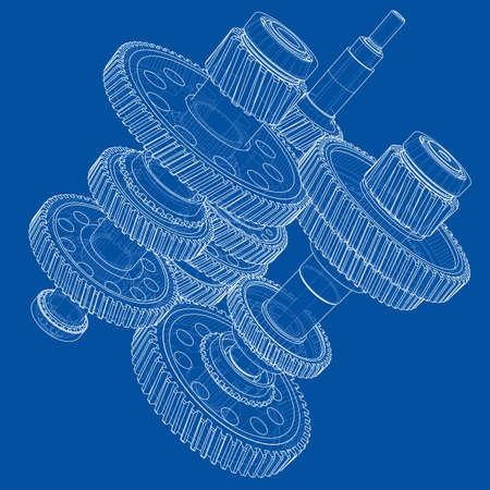 Outline gearbox concept. Vector Standard-Bild - 119840632