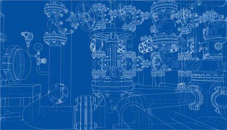 Sketch of industrial equipment. Vector Standard-Bild - 119840633