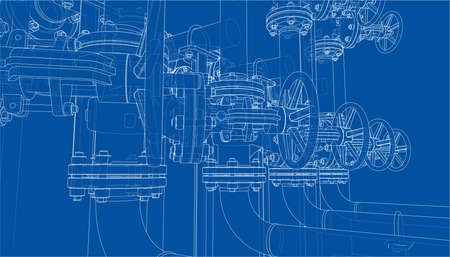 Sketch of industrial equipment. Vector Standard-Bild - 119840634