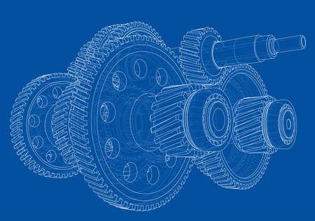 Outline gearbox concept. Vector Standard-Bild - 119840635