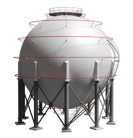 Spherical gas tank. 3D illustration Standard-Bild - 119840644