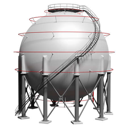 Spherical gas tank. 3D illustration Standard-Bild - 119840645