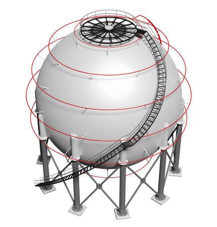 Spherical gas tank. 3D illustration Standard-Bild - 119840646
