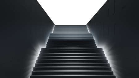 Dark stair with light. 3D illustration Standard-Bild - 119840647