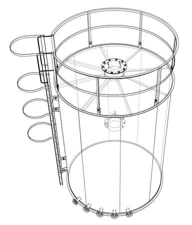 Oil tank outline. Vector rendering of 3d. Wire-frame style. The layers of visible and invisible lines are separated Standard-Bild - 119842849