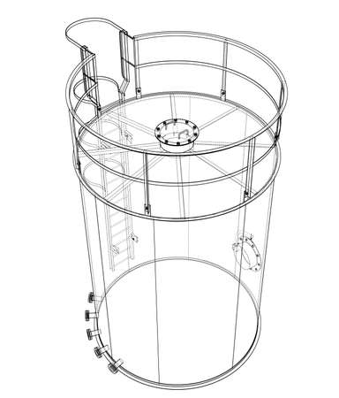 Oil tank outline. Vector rendering of 3d. Wire-frame style. The layers of visible and invisible lines are separated Standard-Bild - 119843086