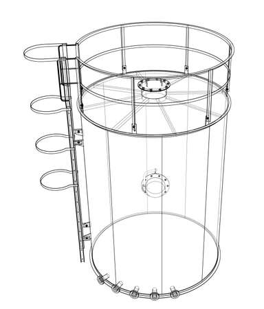 Oil tank outline. Vector rendering of 3d. Wire-frame style. The layers of visible and invisible lines are separated Standard-Bild - 119846674