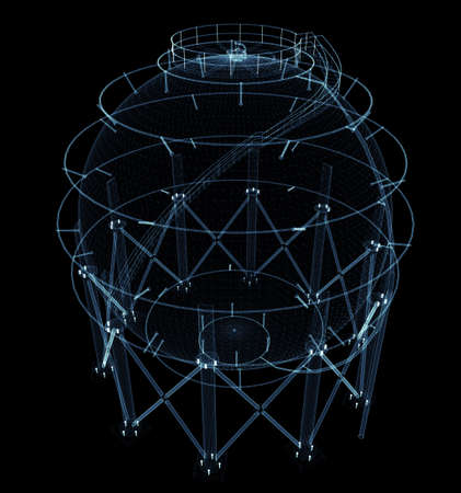 Spherical gas tank consisting of luminous lines and dots Standard-Bild - 120084265