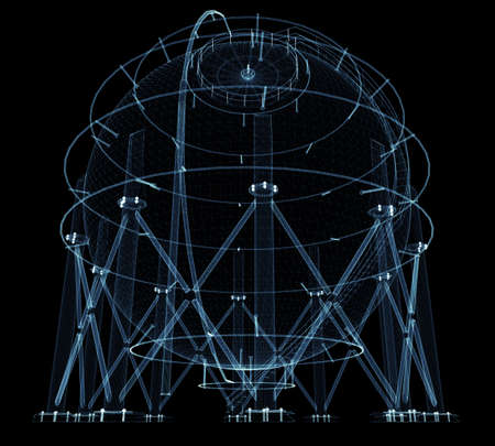 Spherical gas tank consisting of luminous lines and dots Standard-Bild - 120084268