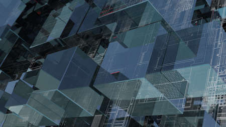 Abstract technology background with glass cubes Standard-Bild - 120084272