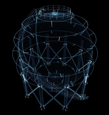 Spherical gas tank consisting of luminous lines and dots Standard-Bild - 120084273