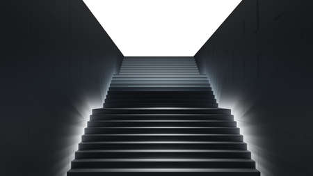 Dark stair with light. 3D illustration Standard-Bild - 120084275