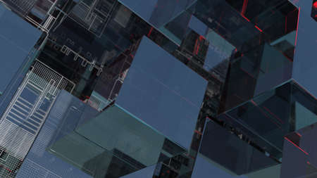Abstract technology background with glass cubes Standard-Bild - 120084276