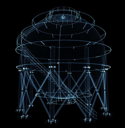 Spherical gas tank consisting of luminous lines and dots Standard-Bild - 120084278