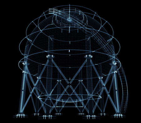 Spherical gas tank consisting of luminous lines and dots Standard-Bild - 120084279