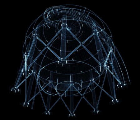 Spherical gas tank consisting of luminous lines and dots Standard-Bild - 120084280