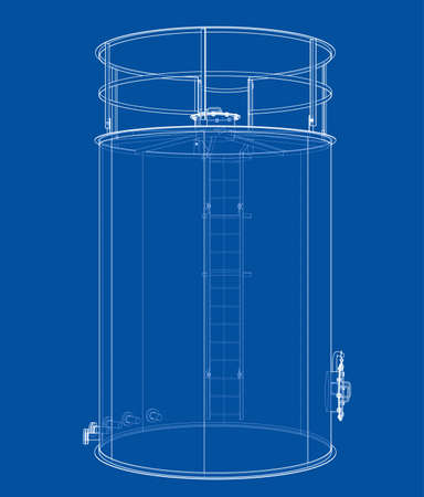 Oil tank outline. Vector rendering of 3d. Wire-frame style. The layers of visible and invisible lines are separated