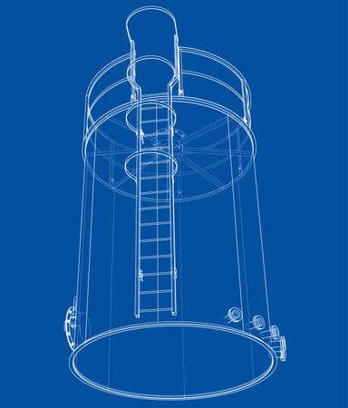 Oil tank outline. Vector rendering of 3d Standard-Bild - 120125535