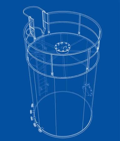 Oil tank outline. Vector rendering of 3d Standard-Bild - 120125537