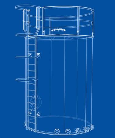 Oil tank outline. Vector rendering of 3d Standard-Bild - 120125541