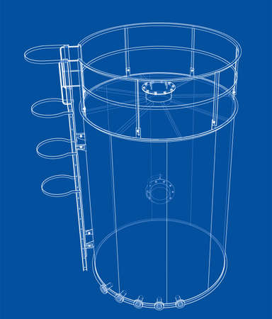 Oil tank outline. Vector rendering of 3d Standard-Bild - 120125543