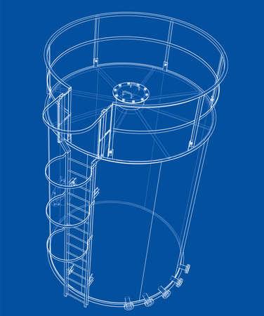 Oil tank outline. Vector rendering of 3d Standard-Bild - 120125544