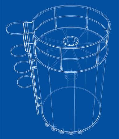 Oil tank outline. Vector rendering of 3d Standard-Bild - 120125548