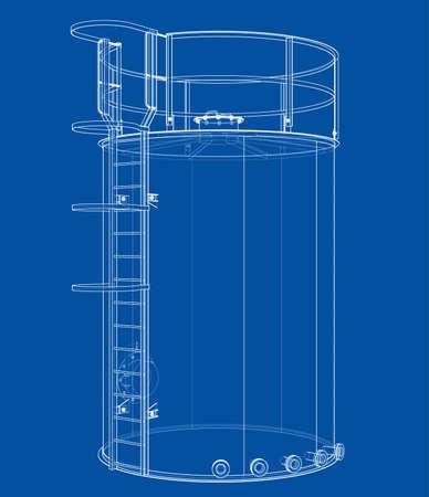 Oil tank outline. Vector rendering of 3d Standard-Bild - 120125549