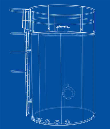 Oil tank outline. Vector rendering of 3d Standard-Bild - 120125551