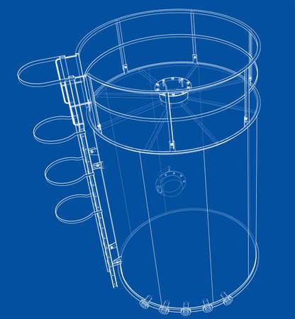 Oil tank outline. Vector rendering of 3d Standard-Bild - 120125553