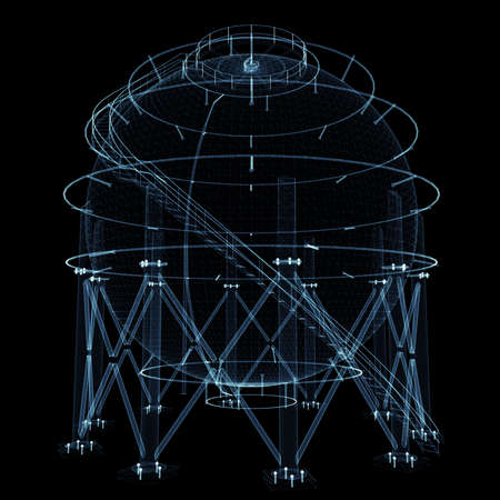 Spherical gas tank consisting of luminous lines and dots Standard-Bild - 120125554