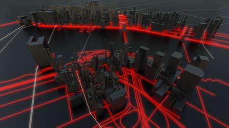 Futuristic night city. 3D illustration Standard-Bild - 120838815