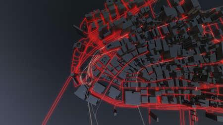 Futuristic night city. 3D illustration Standard-Bild - 120838818
