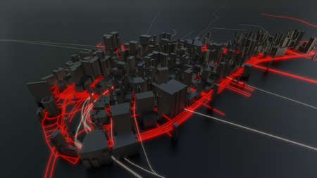 Futuristic night city. 3D illustration Standard-Bild - 120838819