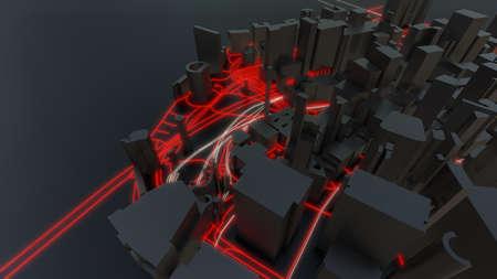 Futuristic night city. 3D illustration Standard-Bild - 120838821